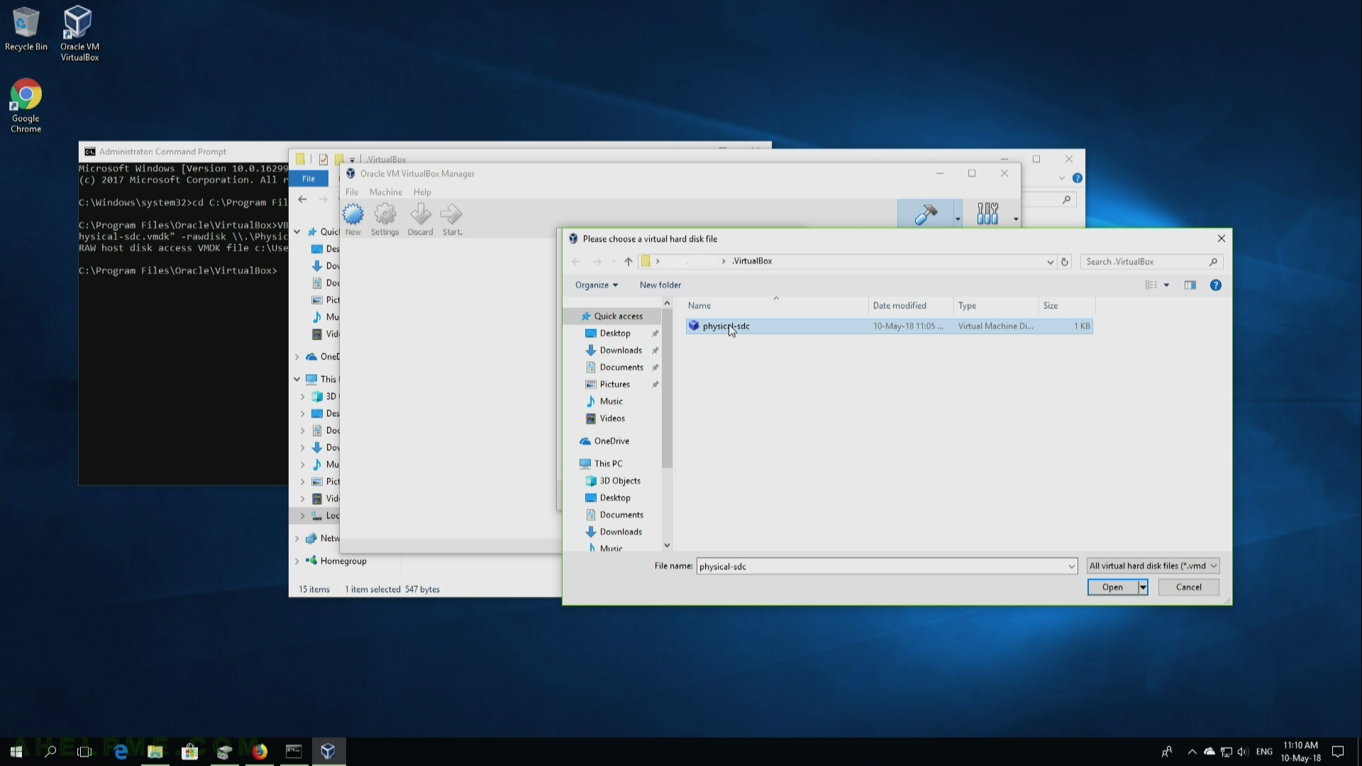 Add a raw disk to a virtualbox virtual machine | Any IT here