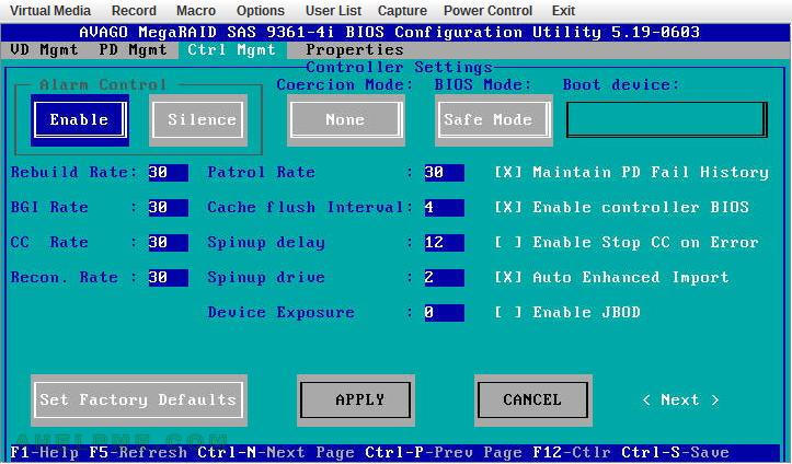 AVAGO MegaRaid SAS 9361-4i with CacheCade and CacheVault BIOS