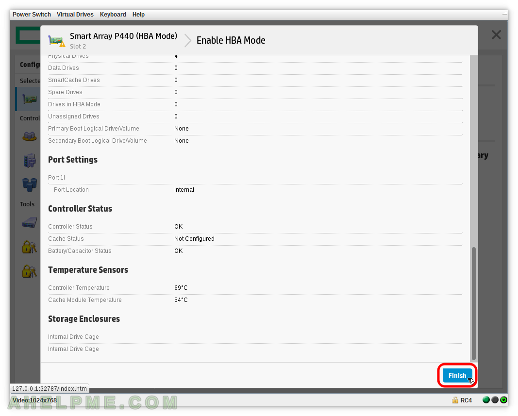 Smart Array P440 – enable or disable HBA mode using Smart